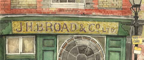 shop sign of Broad's Printers, Richmond